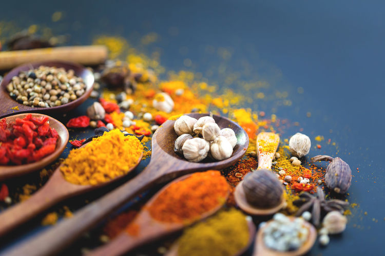 Close-up of spices on table