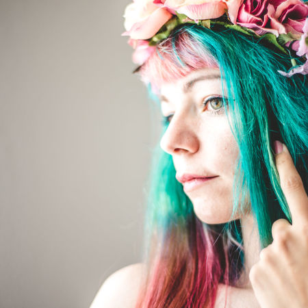 Beauty Colorful Hair Fairytale  Flowers One Person Only Women People Portrait