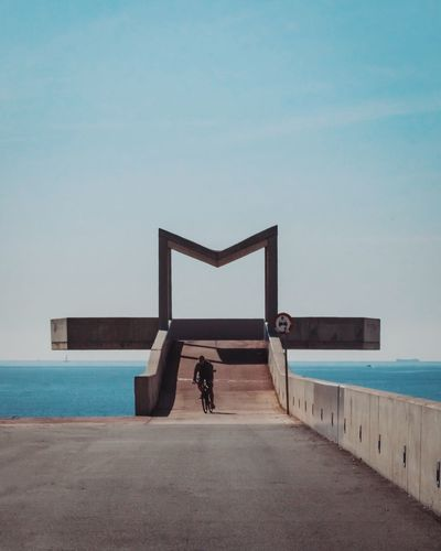 M for..... Sea Real People Water Leisure Activity Men Outdoors Day Sky Architecture Rear View Lifestyles Clear Sky Built Structure Full Length Standing Nature Horizon Over Water Building Exterior Blue Beach Barcelona