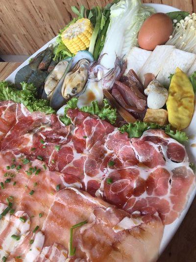 Chabu Food Food And Drink Freshness Meal Meat Pork Raw Food Ready-to-eat Sausage Suki Sukiyaki Vegetable
