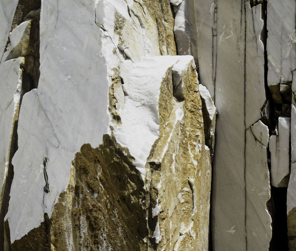 Close-up of snow on rock