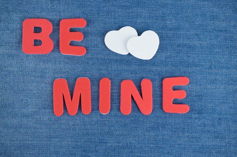 Be Mine Blackandwhite Blue Close-up Communication Day Denim Hearts Indoors  Low Angle View Marriage Proposal No People Studio Shot Taking Photos Text Wedding Proposal