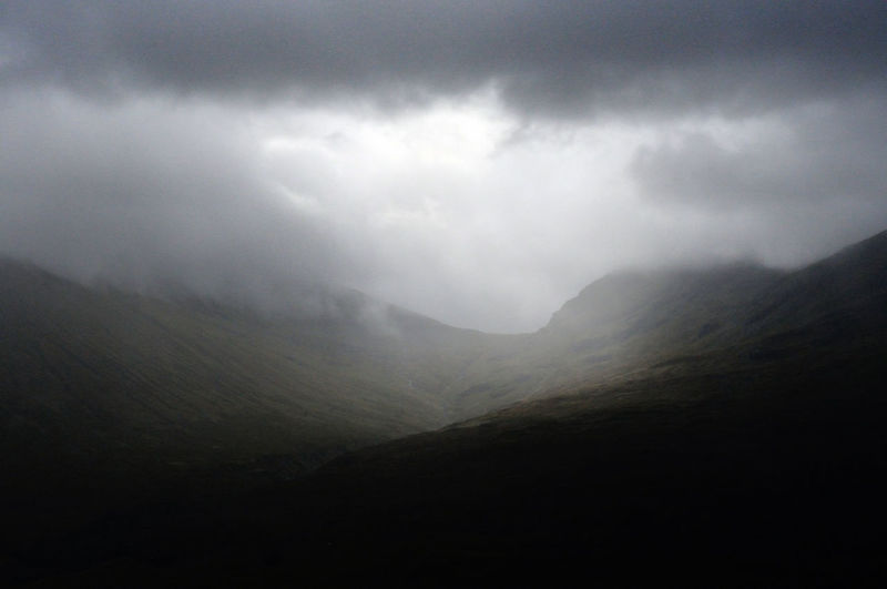 Rain over Beinn Achaladair and Glas Bheinn mountains, near Bridge of Orchy in the Scottish Highlands. Beauty In Nature Cloud Cloud - Sky Cloudy Highlands Landscape Mountain Mountain Range No People Non Urban Scene Outdoors Overcast Rain Remote Scotland Sky Tranquility Weather