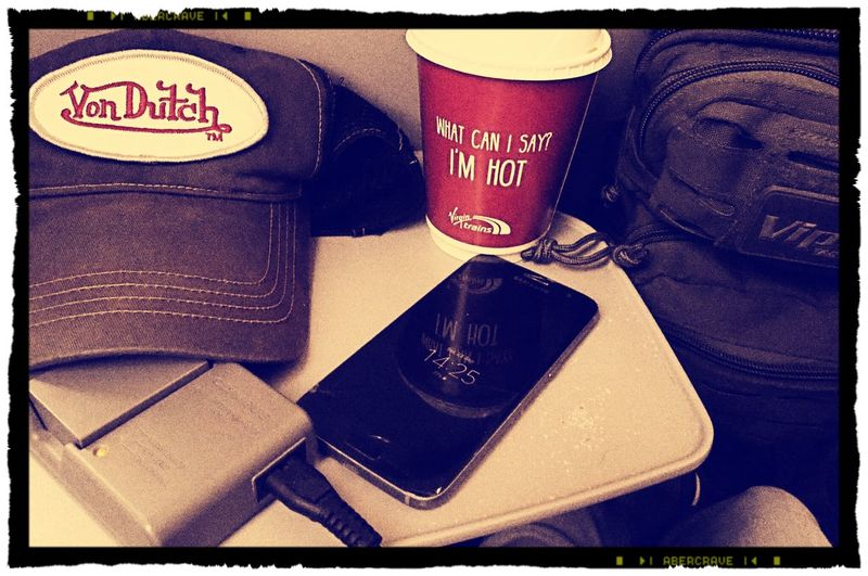 Text Communication No People Indoors  Drink Close-up Day Baseball Cap Virgin Train Virgin Trains London Calling StillLifePhotography Still Life Photography Stillness In Time Von Dutch Viper Shoulder Bag Olympus OM-D EM-1 Olympus Samsung Galaxy S7 The Week On EyeEm Transportation Train Interior Train Journeys Photography Life 🤘