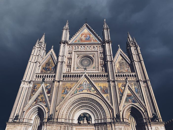 Cathedral of Orvieto, Italy Monument Art Renaissance Medieval Santa Maria Italy Orvieto Cathedral Religion Art History Architecture Built Structure Building Exterior Sky Building Low Angle View Religion Place Of Worship Spirituality Travel Destinations No People Travel Tourism The Past History Outdoors Spire