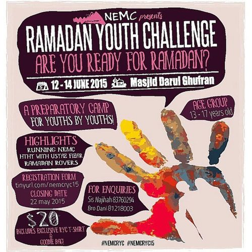 Hey Beautiful.. This is the moment you have been waiting for! Presenting.. North East Mosque Cluster - Ramadan Youth Camp 2015! Come join us in this 3D2N camp where we'll have exciting activities such as Running NEMC, HTHT with Ustaz @mochpfizer as well as Ramadan Rovers! This is absolutely a camp not to be missed! What are you waiting for? Sign up now at tinyurl.com/nemcry15 See you atNemcryc15 Psst..you may want to download the form online and print it, then submit it personally to any of NEMC mosque (Alkaff Kg Melayu, Al-Mawaddah, Ennaeem, Darul Ghufran, Al-Istighfar, Al-Istiqamah, Hj Yusof & Al-Islah), with the payment! :))