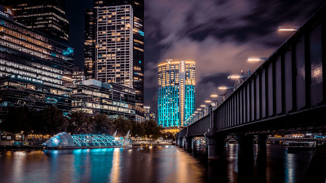 Crown Towers in Melbourne... City Life Bridge Melbourne Melbourne City Waterfront Night Blue Clouds At Night Southbank Yarra River Melbournecbd Long Exposure Night Skyline Skyline EyeEm Selects Night Lights Nightphotography City Tones vanishing point Building Sony City Cityscape Urban Skyline Illuminated Skyscraper Modern Nightlife Downtown District Water Christmas