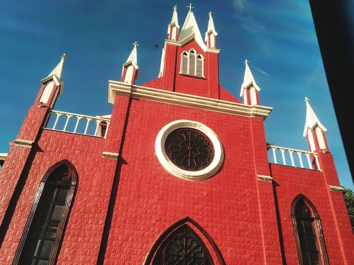 Church Iglesia Costa Rica Iglesia Católica  Religion Religious Architecture Building Color Red Religion No People History Low Angle View Outdoors Sky Day Architecture City Clock Tower Cityscape Politics And Government