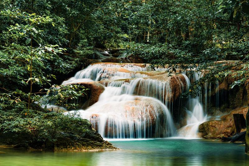 Erawan waterfall at national park, thailand.