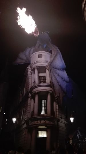 Night Architecture No People Cityscape Dragon Fire Gringottsbank Gringotts Harry Potter