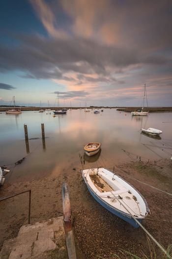 Last Light Sky Nautical Vessel Water Moored Mode Of Transport Transportation Sea Cloud - Sky Boat Nature Beach No People Sand Scenics Outdoors Tranquility Beauty In Nature Horizon Over Water Sunset Harbour Low Tide Looking Down Wells-next-the-Sea Norfolk Seaside