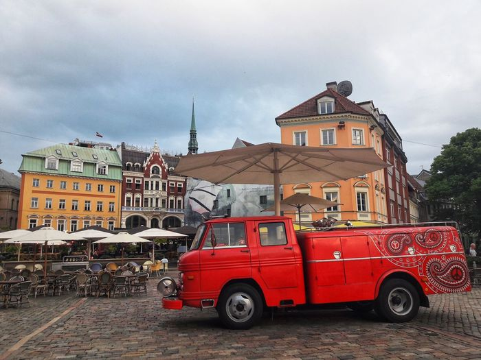 Riga Retro Car Truck Latvia Latvija Outdoors Multi Colored Love Life Atmosphere Street Oldtown City Red Sky Architecture Building Exterior Cloud - Sky Street Scene Colorful Vintage Car Vehicle