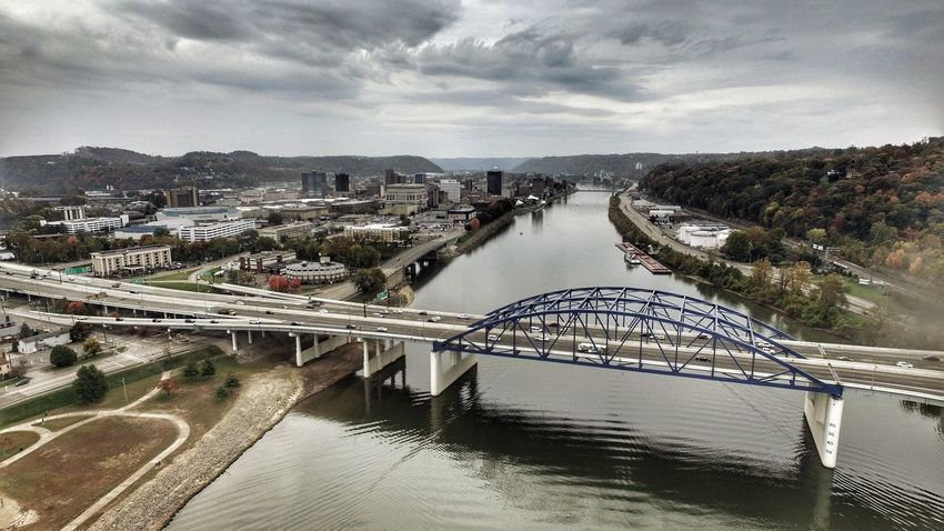 Ariel Charleston West Virgina Architecture Built Structure City River Bridge - Man Made Structure Connection Transportation Building Exterior Water Sky Outdoors Cloud - Sky No People Cityscape Day Tree