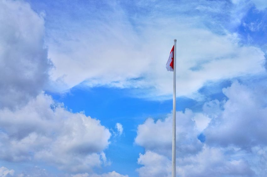 INDONESIA Flag Patriotism Blue Symbolism Cloud - Sky National Icon Outdoors No People INDONESIA