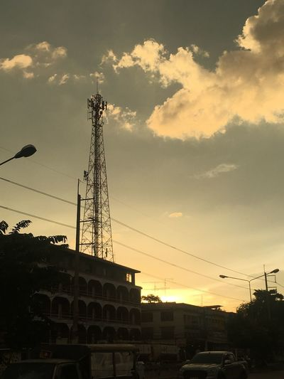 nice sky Sky Architecture Built Structure Sunset Cloud - Sky Silhouette Low Angle View Nature Technology No People Electricity  Cable Building Exterior Tower Connection Fuel And Power Generation Power Line  Electricity Pylon Outdoors Industry