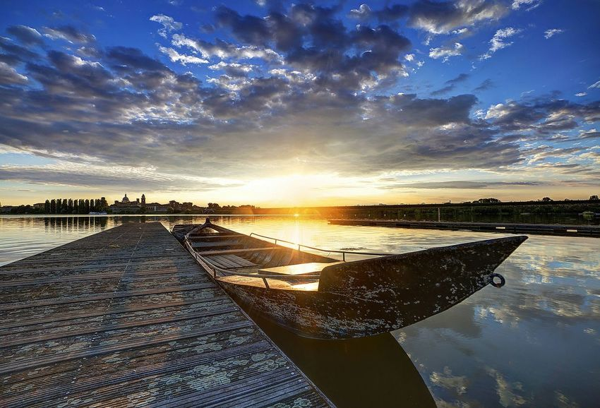 Cityscapes Mantova Skyline Lake Boats Sunset Mantua Blue Clouds