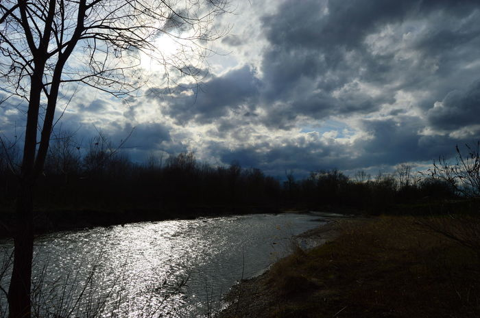 river Sky, Nature, Clouds, Clouds, Sun, Sunset, River, Tree Water Reflection Cold Temperature Sky Landscape Cloud - Sky