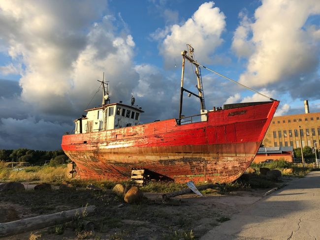 Red Cloud - Sky Sky Transportation Nature Mode Of Transportation No People Nautical Vessel Water Day Outdoors Land Ship Fishing Industry Architecture Building Exterior Built Structure Fishing Boat