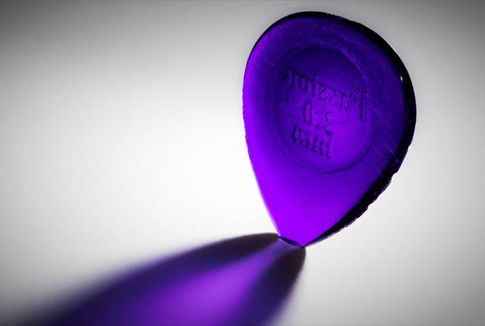 Pick Guitar Pick Studio Shot Multi Colored Purple Colored Background White Background Close-up Geometric Shape