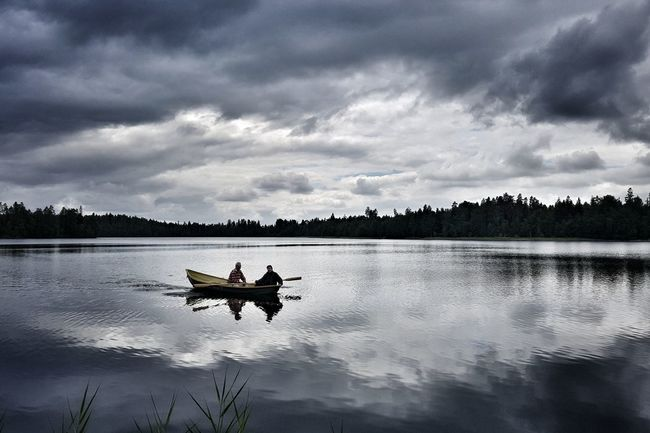 Rowingboat on a Mirrorlake during Finnishsummer