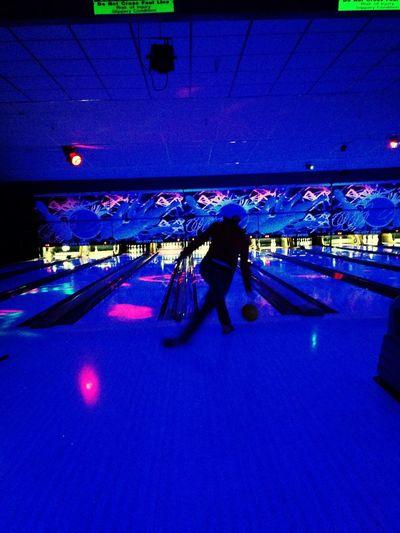 Glow bowling fun and happy
