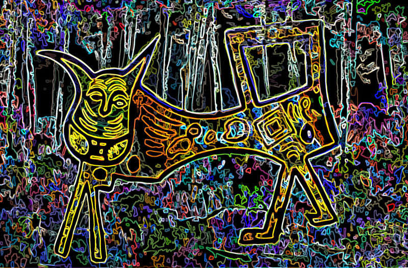 A Aboriganal Dreaming Or White Mans Dreaming Creacher. I Have Never Seen It But It Is Around So WATCH OUT. Is A Friend Of The Bunyip Who Eats Children LIVES IN THE DEEP DEEP FOREST Lives Near Water Holes. Painting Mixed Medium This Is An Artistic Picture Of A Fantasy Cat Creacher That Lived In Nannup Wacch Out When You Are Camping In The Forest Down Here.