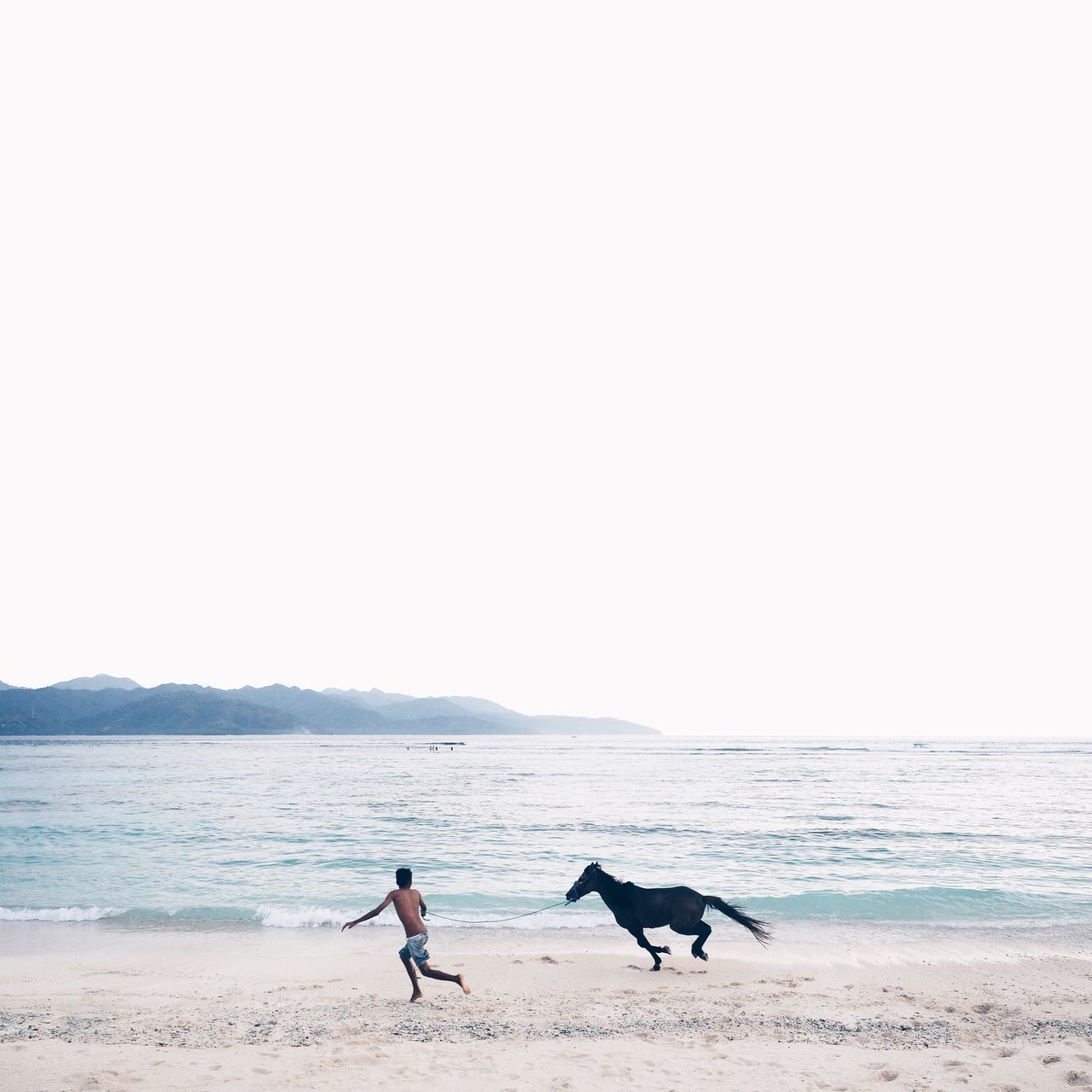 Man running with horse on shore at beach against clear sky