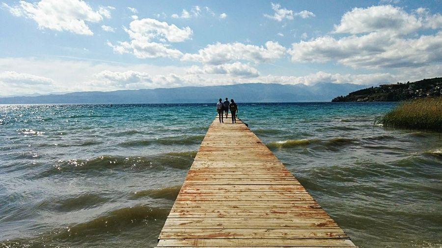 Ohrid,lake,Macedonia Tourist Destination Lakeshore Macedonia Macedonia Lake Lake View Lakeside Lake Ohrid People On Pier Lake And Mountain And Sky Cloud - Sky Water Beach Jetty Vacations Pier Travel Destinations Nature Outdoors Horizon Over Water Scenics People Beauty In Nature Day