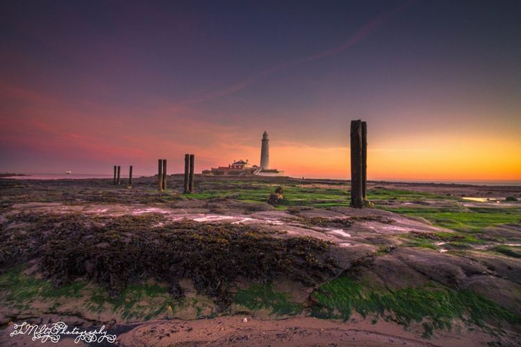 St Mary's lighthouse Sunset Outdoors Sky