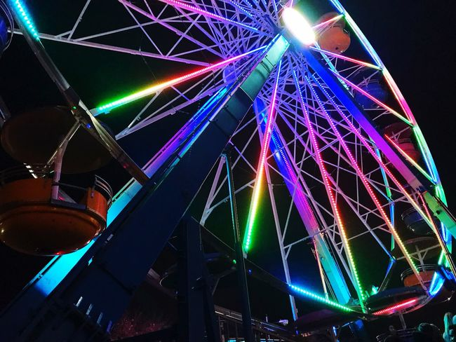 Night Illuminated Ferris Wheel Low Angle View Multi Colored Arts Culture And Entertainment Outdoors Sky Frightnight First Eyeem Photo Second Acts