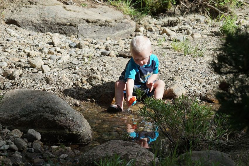 Boys Childhood Innocence Nature Playing Reflections Reflections In The Water Solitude Stream Hermit Valley Happy Kid