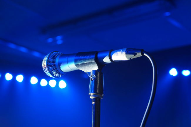 Arts Culture And Entertainment Blue Electrical Equipment Event Festival Illuminated Microphone Microphone Stand Microphones Music Music Night Nightlife No People Rock Music Sound Recording Equipment Technology EyeEmNewHere