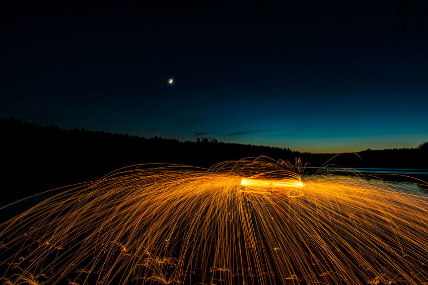 Illuminated Lake Light Trail Long Exposure Moon Motion Night No People Outdoors Speed Star - Space Steel Wool Wire Wool Eyem Best Shots Be. Ready. Light Painting