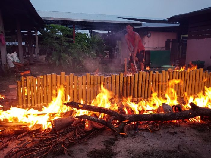 View of bonfire on barbecue grill