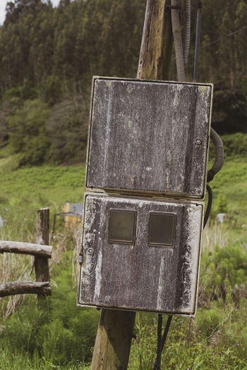 Close-up of birdhouse on wooden post in field
