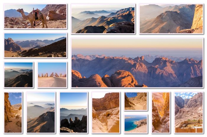 Egypt pictures collage of different famous locations landmark of Sinai Peninsula, Africa. Collage Collages Egypt Landmarks Ras Mohammed Sinai Peninsula Aerial View Allah Door Backgrounds Desert Beauty Egyptian Isolated White Background Landmak Location Mountain Sinai Sinai Egypt