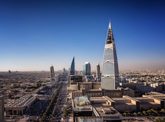 Riyadh Saudi Arabia King Fahad Road Highway Downtown Blue Blue Sky Architecture Skyscraper Landscape
