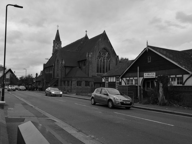 Four Churches within a hundred meter square. Black And White Church Momochrome God London England Street Light Transportation City Cloud - Sky No People Outdoors Day Car