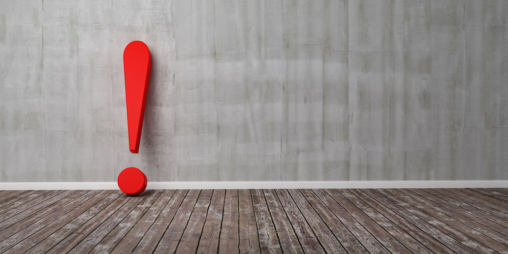 Red exclamation mark on wooden floor and concrete wall 3D Illustration Warning Concept Red Wood - Material Table No People Indoors  Heart Shape Still Life Sport Ball Table Tennis Day Shape Directly Above Gray Two Objects Positive Emotion Design Wood Single Object Equipment Exclamation Mark Exclamation Point