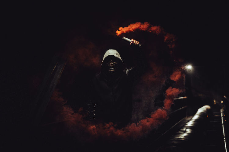 Red Ghost Dangerous Fujifilm Ghost Man Night Red Scary Smoke Grenades