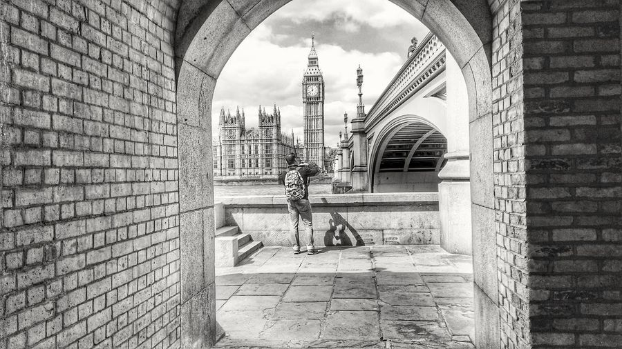 London Architecture Black & White Thames River Side Houses Of Parliament
