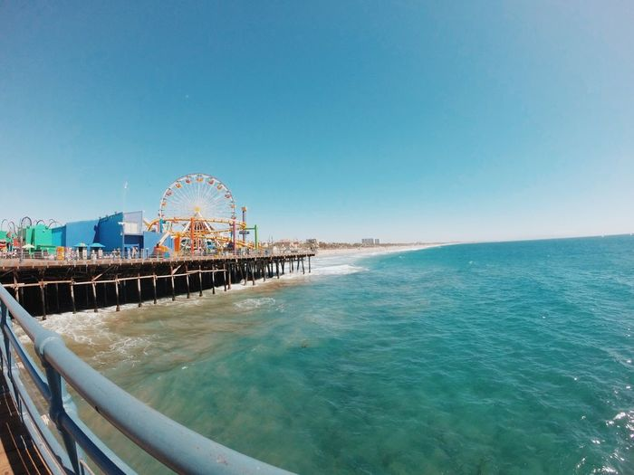 Scenic View Of Sea By Santa Monica Pier Against Clear Sky