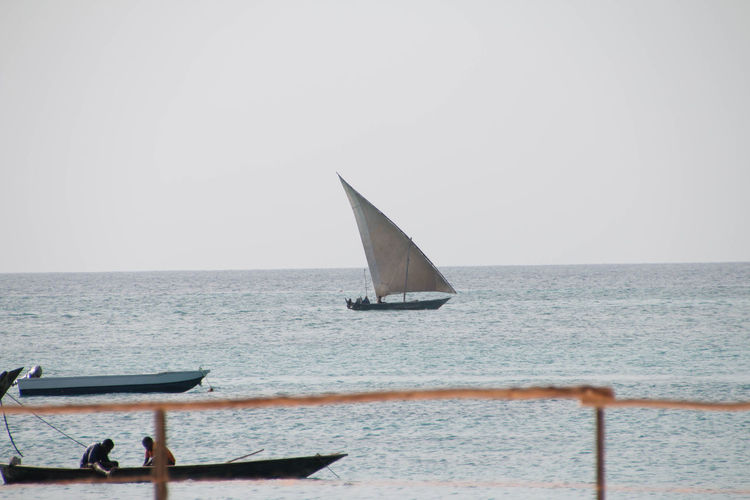 Dhow fishing boat in Zanzibar Day Dhow Dhow Fishing Boat Fishermen Fishermen Boat Horizon Over Water Men Nature Outdoors People Sailboat Sailing Sea Sky Water