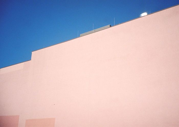 Minimalist Architecture 35mm Filmisnotdead Analogue Photography Clear Sky Blue Pink The City Light