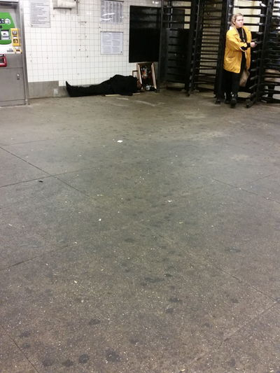 Homeless NYC Sleeping Trainstation New Yorker