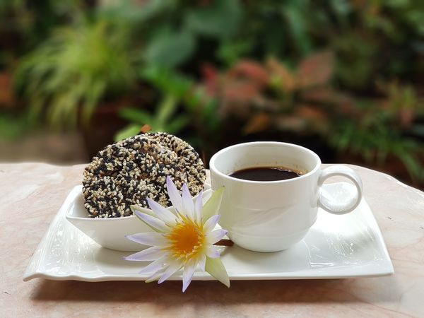 A cup of black coffee and cracked black and white sesame seeds . Freshness Food And Drink Close-up Day Tea - Hot Drink Outdoors Nature heath heathy Healthy Food Thailand🇹🇭 EyeEmNewHere No People Flowers,Plants & Garden Healthy Lifestyle Healthy Diet Healthyeating Healthychoices Healthy Eating Healthcare And Medicine Beautiful Nature Focus On Foreground Flower