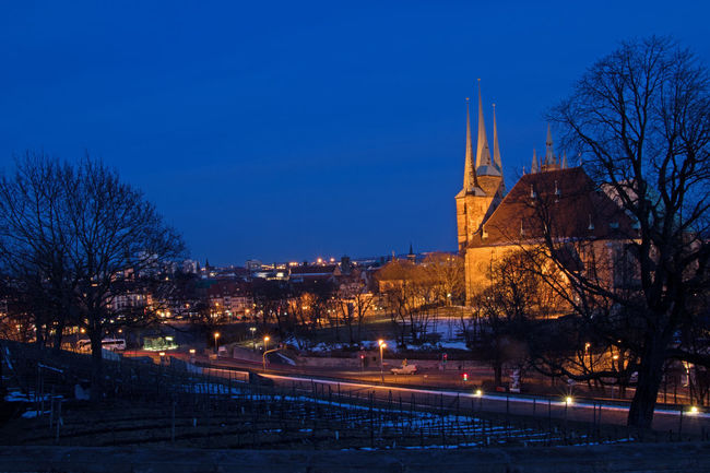 Church Domplatz / Erfurt Erfurt Heimat Light Thuringia Blaue Stunde Evening Germany Night Severekçekiyoruz