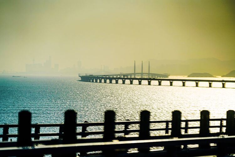 Road of Dragon Macau Shadow And Light Street Photography Discoverhongkong Water Sky Railing Nature Sea Scenics - Nature No People Architecture Tranquility Tranquil Scene Horizon Over Water Horizon Built Structure Outdoors Beauty In Nature Transportation Day Clear Sky Ship Cruise Ship