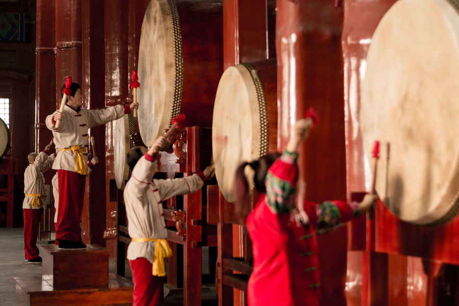 Adult Adults Only Day Drum Tower Drummer Drums Indoors  People Red Statue Women Around The World