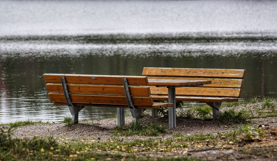 Empty Bench By Lake
